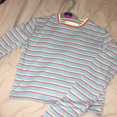 99da18b9f2 @shens15. last year. Pinner, United Kingdom. Blue yellow and red striped  super cute long sleeve cropped tee - size XS from urban outfitters ...