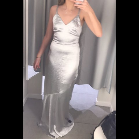 4aab9b682c5 NEW WITHOUT TAGS H&M Silver Maxi Dress, Low Back and Strap - Depop