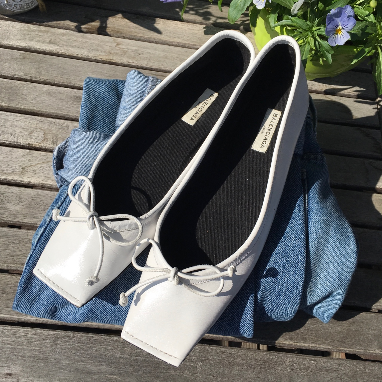 Balenciaga Square Toe Flats With Near To No Wear by Depop