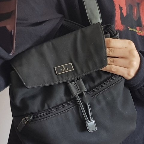 ca795dfae53 Genuine Gucci mini black back pack made from canvas with zip - Depop