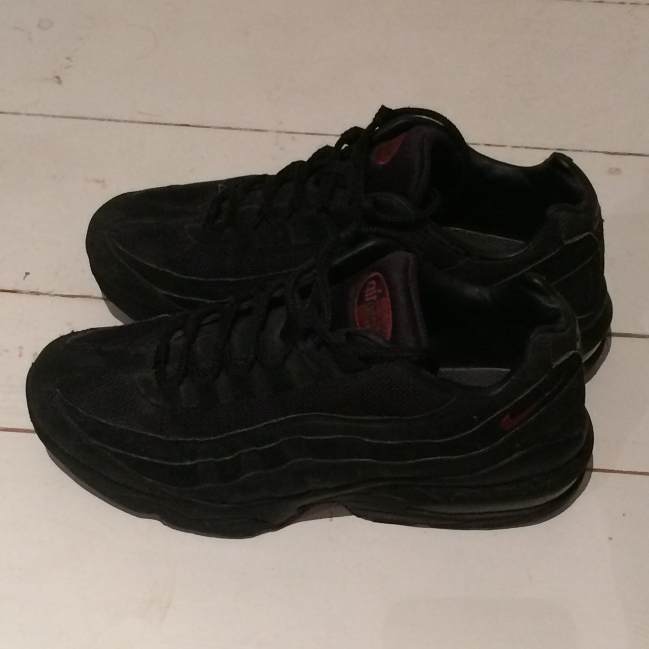 Nike air max 95's in all black with red tick. Size Depop