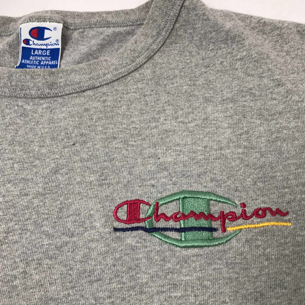 huge discount great quality classic style Vintage 90's Champion color embroidered logo tee... - Depop