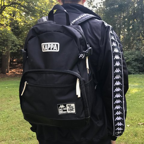 Vintage rare 90 s Kappa black logo backpack  FREE unique in - Depop ce762308cfd41