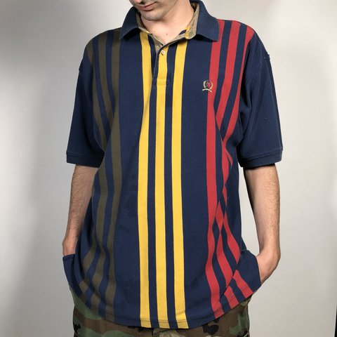 1088dcf50 @pvdvtg. last year. Pawtucket, United States. Vintage 90's Tommy Hilfiger  striped polo shirt / Mens Large ...