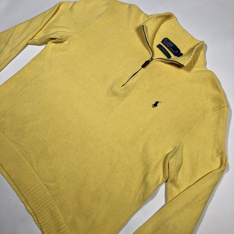 0d84ec3fb Vintage Polo Ralph Lauren yellow knit quarter-zip pullover   - Depop