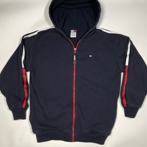 39236b4b7c4e Vintage 90 s Tommy Hilfiger full-zip taped logo hoodie   fit - Depop