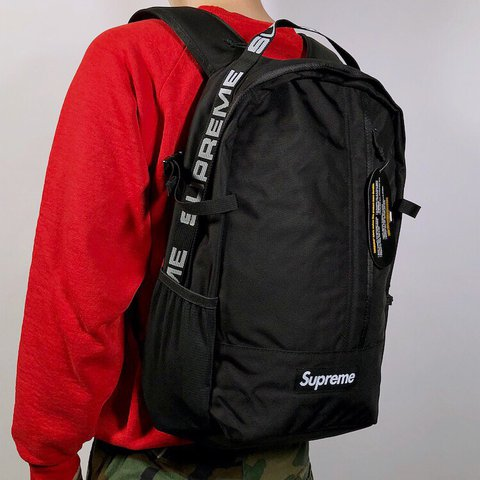 9c5c4f154f32 NWT deadstock Supreme SS18 black taped box logo backpack new - Depop