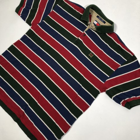 a49cde9e @pvdvtg. last year. Pawtucket, United States. Vintage 90's Tommy Hilfiger  striped polo shirt / Men's Large ...