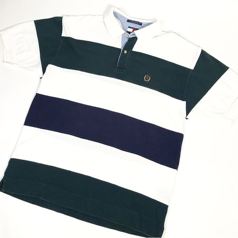 3be5e792 @pvdvtg. 4 months ago. Pawtucket, United States. Vintage 90's Tommy  Hilfiger striped short-sleeve polo shirt / Men's Large ...