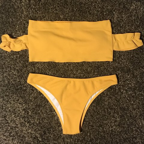 24140423b19f9 Brand new never worn bikini! Beautiful yellow orange color a - Depop