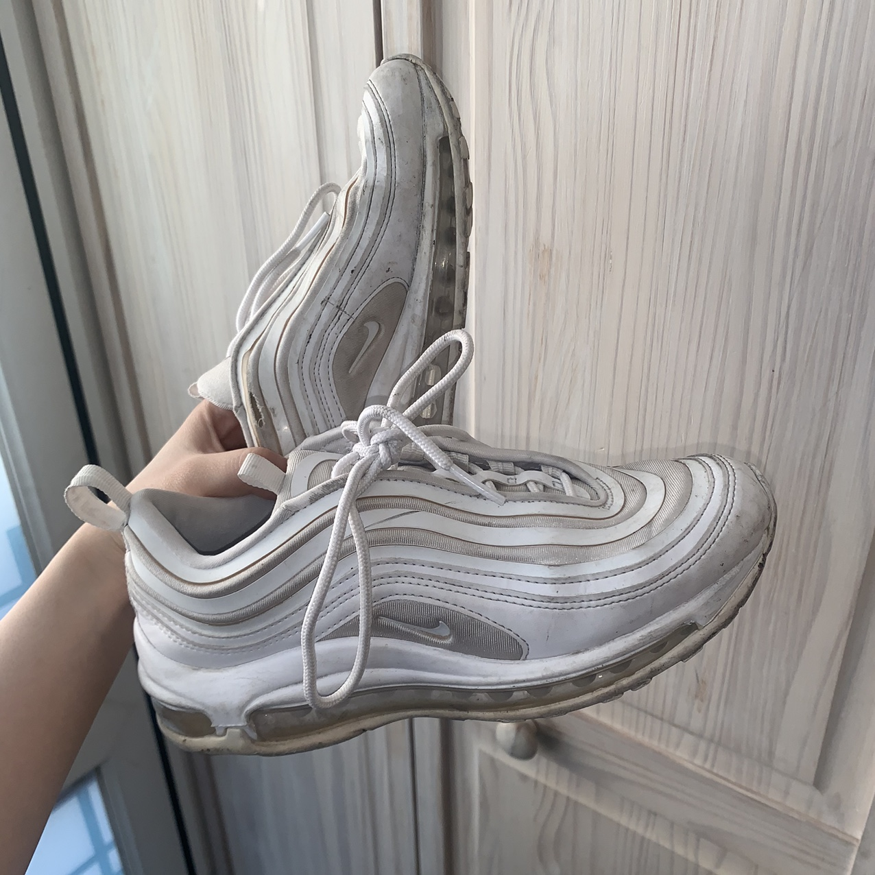 Nike Air Max 97 Size 3 5 Triple White But Sole Has Depop