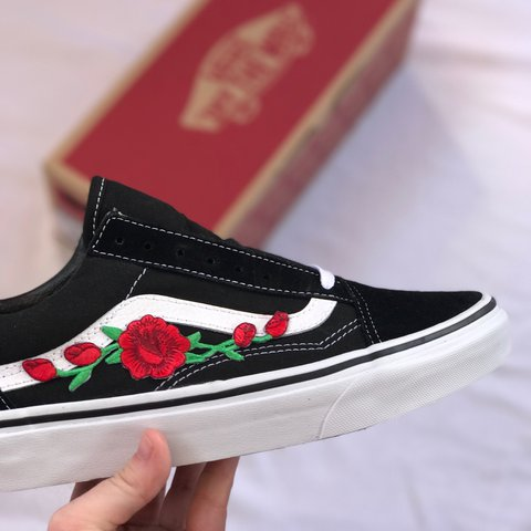 fa04e5666d Red Rose Embroidered Old Skool Vans. The colour of the vans - Depop