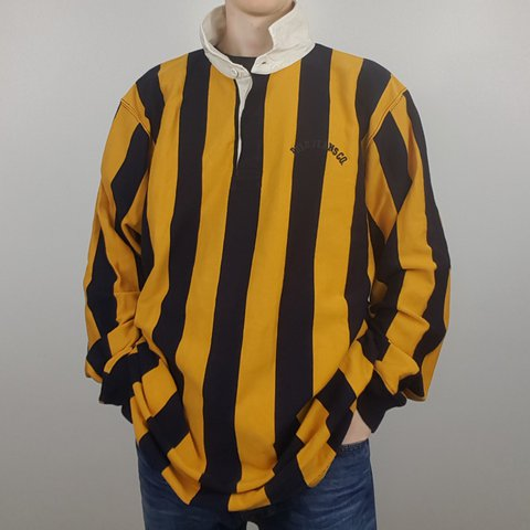 cfdec7544c7 Ralph Lauren rugby shirt in bumble bee stripes black and and - Depop