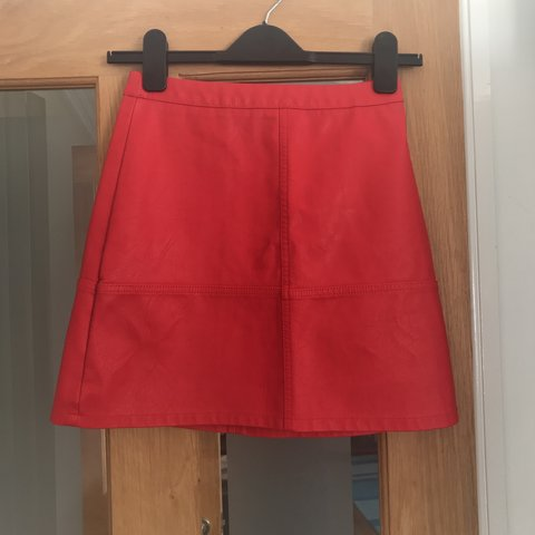 8a9cd96eca @hollie856. 11 months ago. Lincoln, United Kingdom. New Look faux leather  red skirt. New with tags. Size 6 petite.