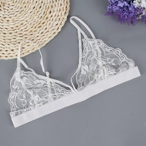 7e77d7f7cd6 Sexy White Lace Triangle Bralette- size S •Band of each cup  - Depop