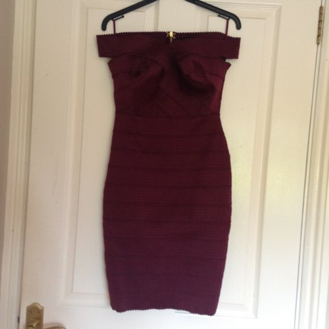 e3662a8facf6 Burgundy  dark purple off the shoulder midi dress from New - Depop