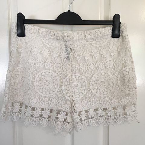Factorie White Crochet Shorts Only Worn Once Depop