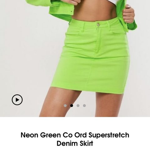 6f72e9b71d @jazziearmstrong. 2 months ago. Cambridge, United Kingdom. Neon green  stretchy denim skirt ...
