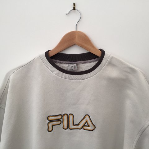 8b8bdba76367b @triedvintage. 2 years ago. Reading, United Kingdom. Retro 90's Fila Sweater  in beige // Size XL but will look ...