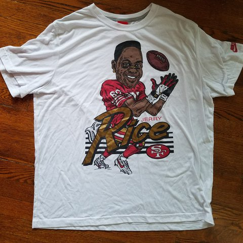 b2147ff2 @kcrai005. 2 years ago. Virginia Beach, Virginia, United States. Nike Jerry  Rice caricature tee. San Francisco 49ers. The logo is in excellent condition  ...