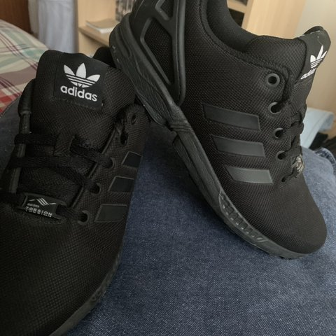 40857135c Black Adidas ZX Flux trainers 👟 🖤  NEVER WORN- only to try - Depop