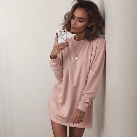 3addd6ff506 Missguided oversized sweater dress nude pink size 8 but so - Depop