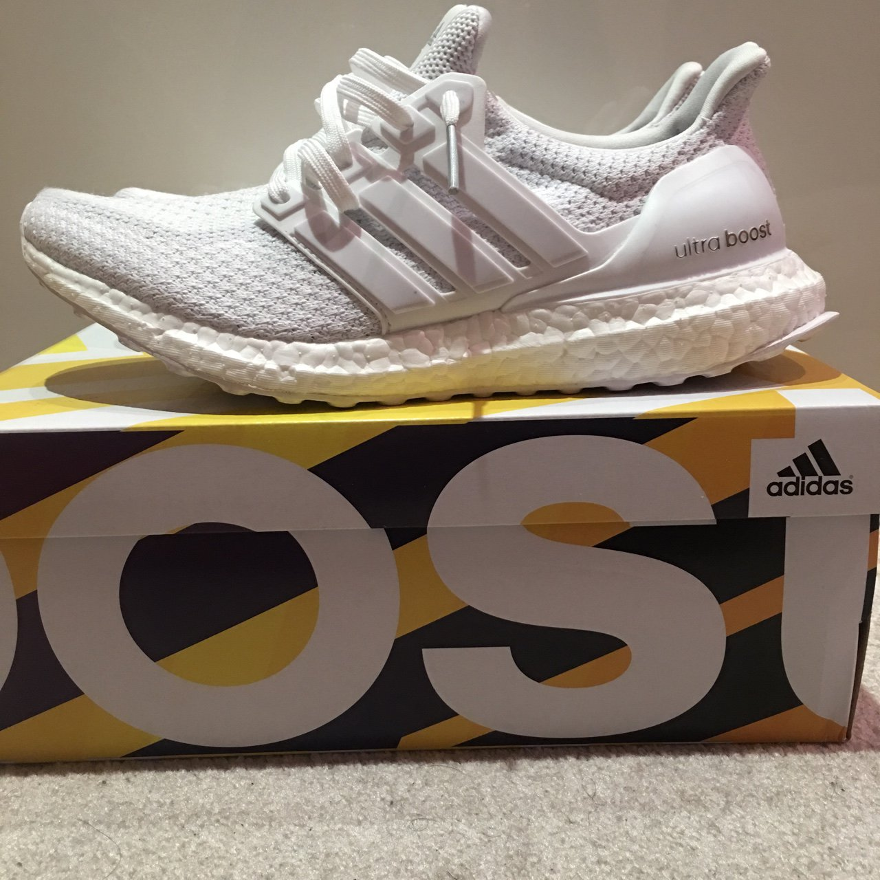 f08fa3809f5 Adidas ultraboost 2.0 white 9 10 uk7 Worn only a couple of - Depop