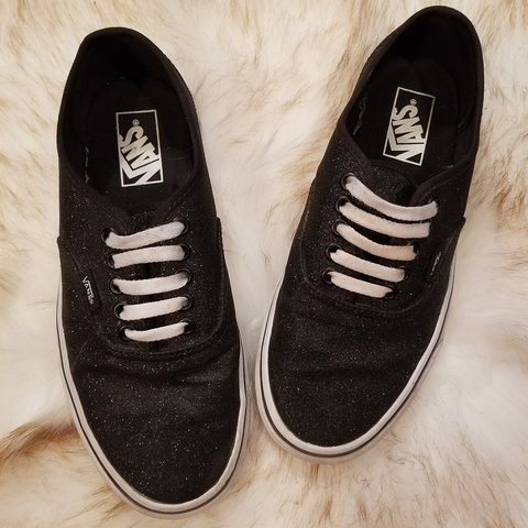 b2846445e14 Black sparkly vans. Size 8 women s but I wear a 9 and they a - Depop