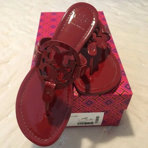 cdc7ee2c96c Authentic Tory Burch Miller Sandals - Red Patent Leather new - Depop