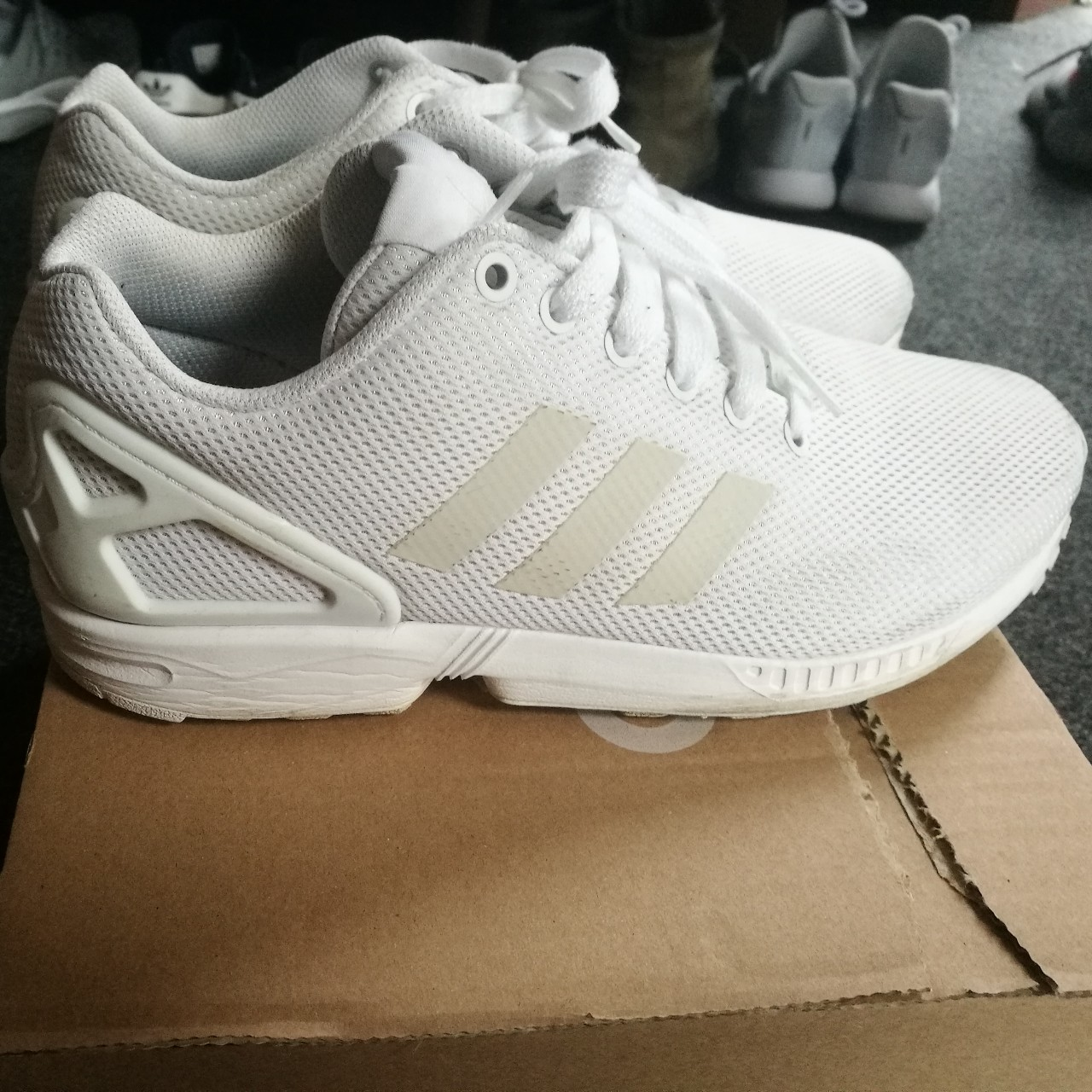 low priced 769e9 49294 Adidas Zx Flux Triple White. Size UK8 Used, I would... - Depop