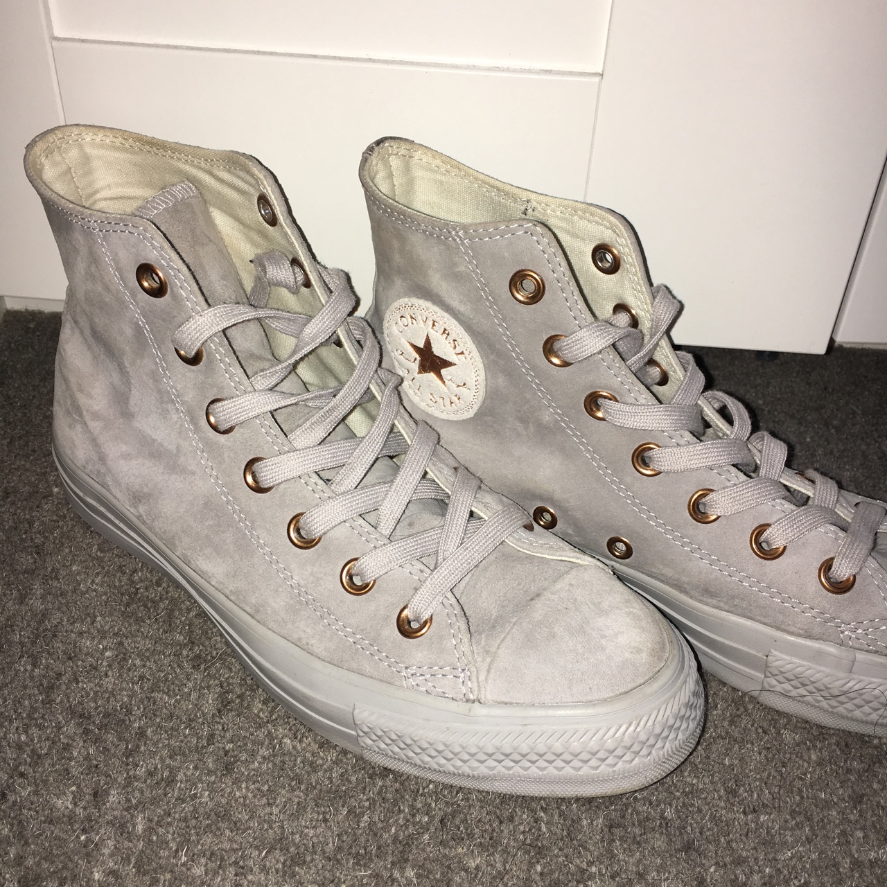 GREY SUEDE CONVERSE HIGH TOPS, ROSE GOLD