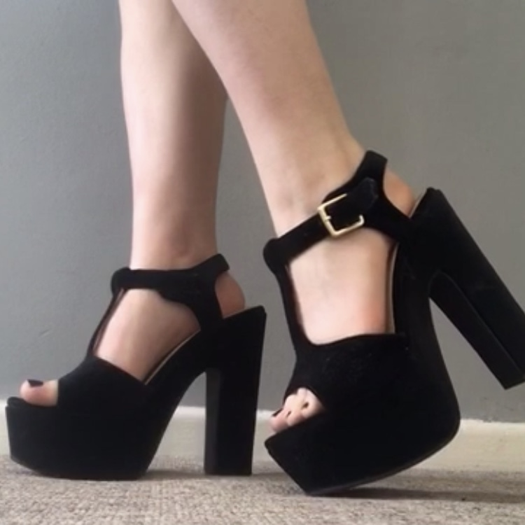 really comfortable low priced special section super cute chunky black platform heels buckle shoe... - Depop