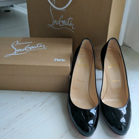 88c37e0732b9 Classic black patent Christian Louboutin  simple pump  with - Depop