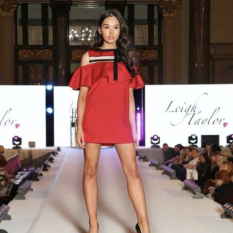 f02a70b10c Leigh Taylor red cut out frill dress