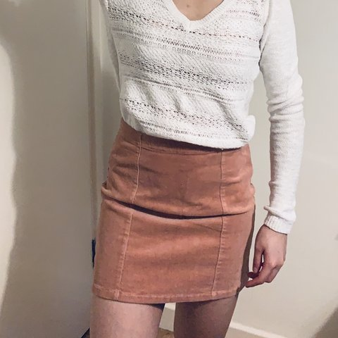 0964de9477 Forever 21 blush pink cord mini skirt in size S. Will fit UK - Depop