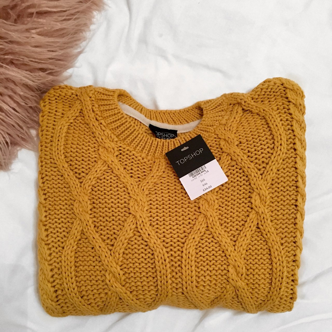 Brand new with tags mustard Topshop cable knit jumper. Size - Depop 6d2c10309