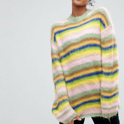 95616eed 🌈ASOS Oversized fluffy rainbow jumper🌈 💫Is the fluffiest - Depop