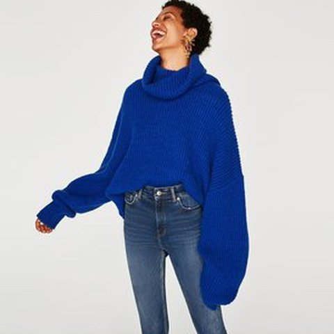 3c43dab4 @bethparsons. last year. London, United Kingdom. Zara blue wool blend oversized  roll neck sweater