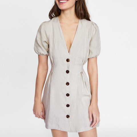 26024c800a Zara buttoned linen dress In perfect condition only worn L v - Depop