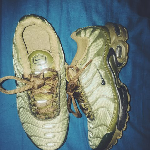 2bda465666 ... switzerland nike air max plus gs tn tuned cargo olive green worn in out  depop 95467