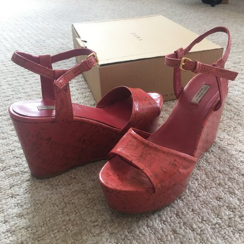 64fc1ddc3a7f Red wedge heels with ankle strap