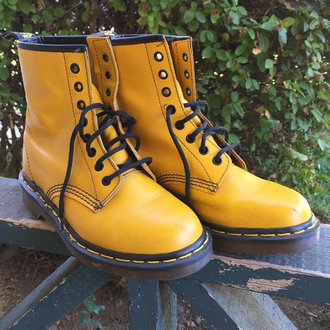 0bf4bc5c8 Vintage mustard yellow Doc Martens. Made in England. Light & - Depop