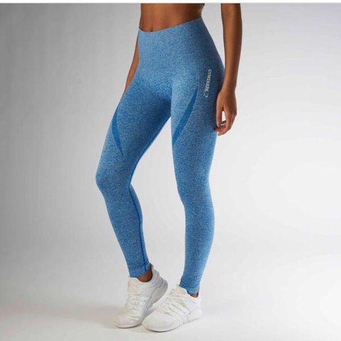e449229a4ce3df GYMSHARK Medium Seamless Blueberry Marl High Waisted these I - Depop