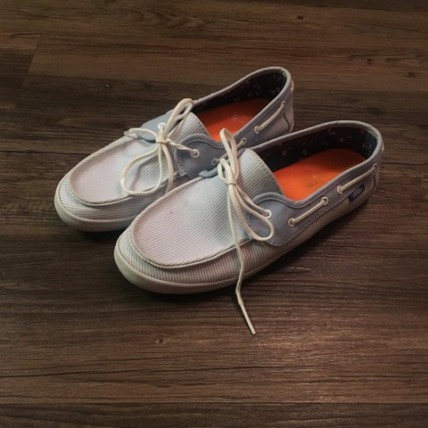 838b7ac191e6b1 Vans pin striped loafers baby blue   white. Great condition. - Depop
