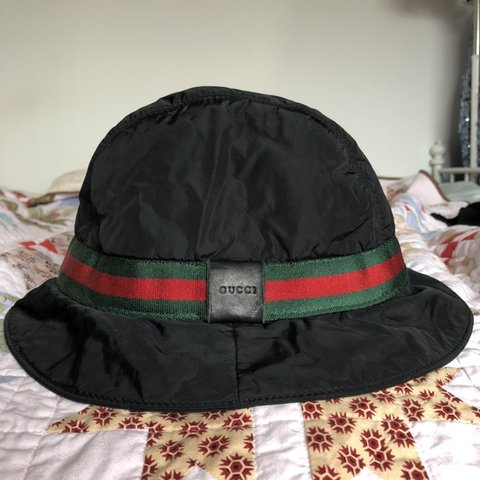 f2b399f1aa907 Vintage Gucci bucket hat with classic Gucci stripe. Leather - Depop