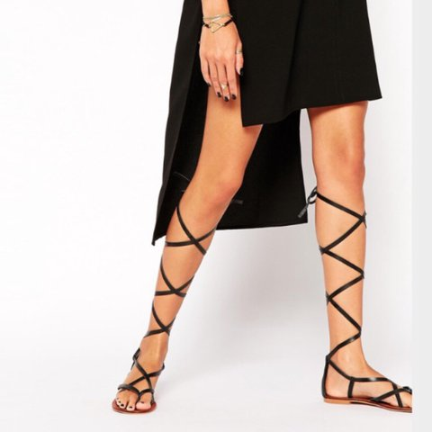 29c489245ac9 Asos black strappy gladiator sandals Size 5 I m a 6 and - Depop