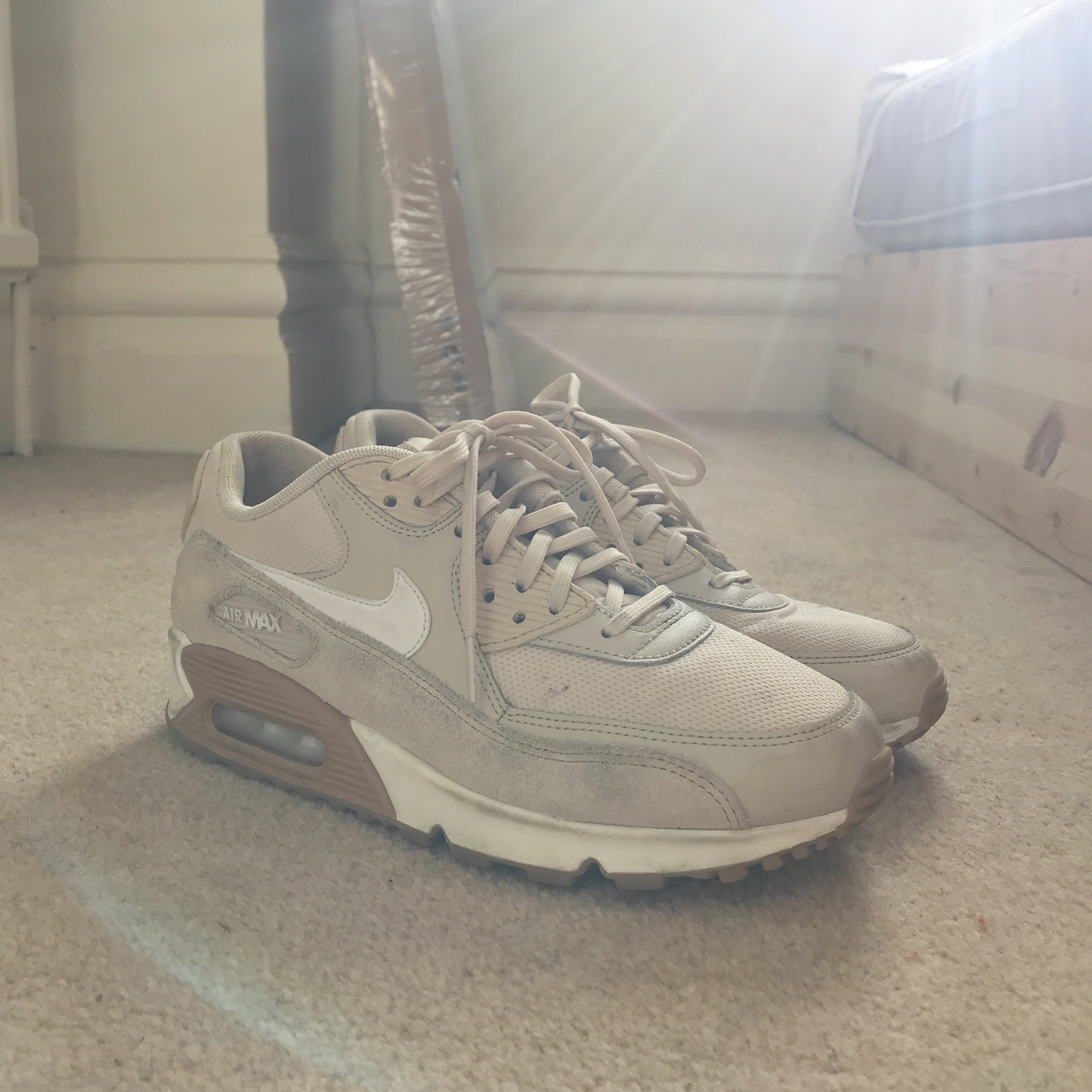 Nike Air Max 90 wheat Size 6 decent condition Depop