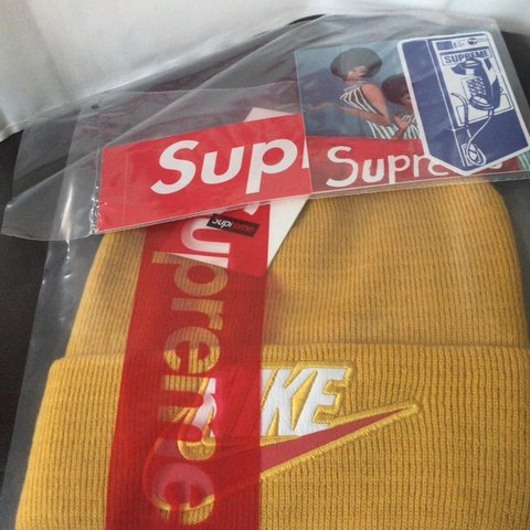 Supreme X Nike beanie (yellow) Brand new Comes with before - Depop bd280444e9e8