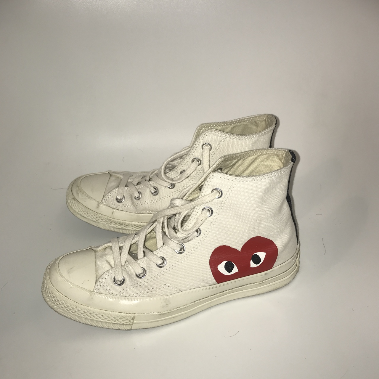 CDG Converse white high tops in great