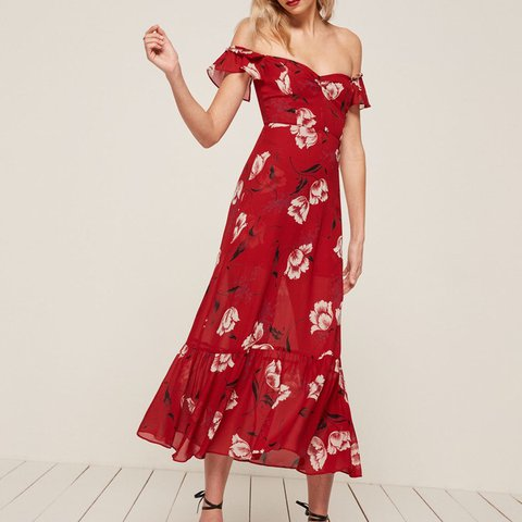 26a72771316b Red floral off the shoulders tropica dress by reformation. 4 - Depop